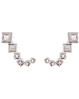 Diamond Silver Geometric Climber Earrings