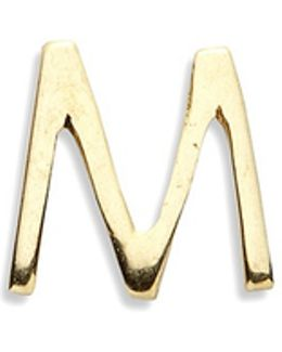 18k Yellow Gold Letter Charm - M