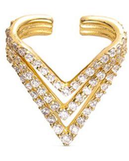 'chevron' Diamond 14k Gold Single Ear Cuff