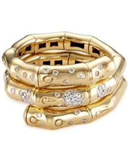 Diamond 18k Yellow Gold Coil Ring