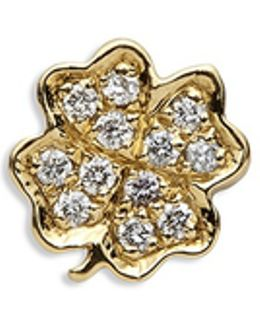 18k Yellow Gold Diamond Four Leaf Clover Charm - Luck