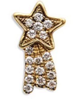 18k Yellow Gold Diamond Shooting Star Charm - Make A Wish