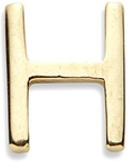 18k Yellow Gold Letter Charm - H
