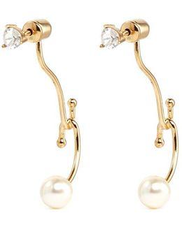 'monroe' Swarovski Crystal Pearl Jacket Earrings