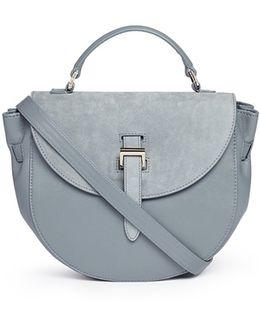 'ortensia' Suede Flap Leather Saddle Bag