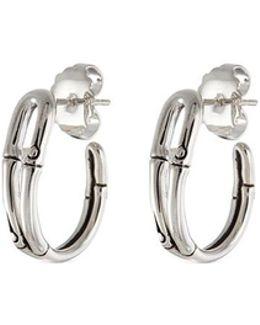 Silver Small Bamboo Hoop Earrings