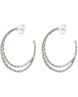 Silver Chain Effect Medium Hoop Earrings