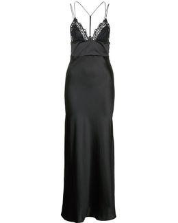 'petit Macramé' Floral Lace Silk-blend Gown