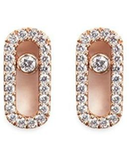 'move Uno' Diamond 18k Rose Gold Stud Earrings