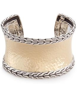 18k Yellow Gold Silver Hammered Bangle