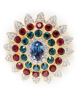 Glass Crystal Gold Plated Floral Brooch