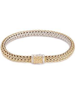 18k Yellow Gold Silver Reversible Woven Chain Bracelet