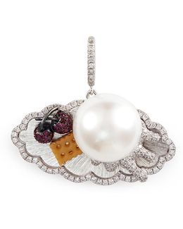 Diamond Pearl 18k White Gold Dessert Tray Pendant
