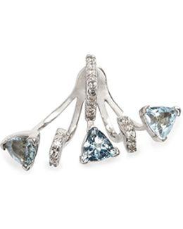 'marta' 18k Gold Diamond Pavé Aquamarine Single Earring