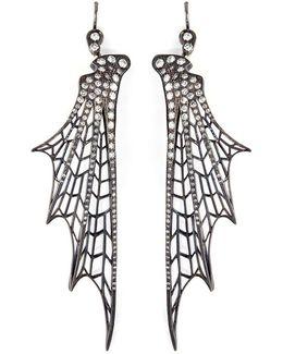 'batwing' Diamond Rhodium Silver Drop Earrings