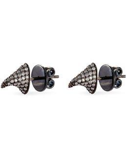 'pave Thorn' Diamond Rhodium Silver Stud Earrings
