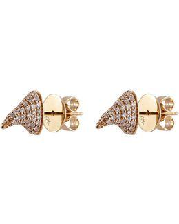'pave Thorn' Diamond 14k Yellow Gold Stud Earrings