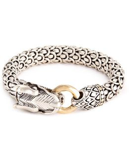 18k Yellow Gold Silver Scaly Naga Chain Bracelet