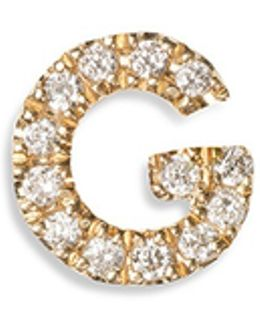 Diamond 18k Yellow Gold Letter Charm - G