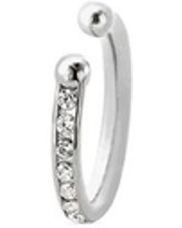 'channel Orbital Hoop' Diamond Silver Single Ear Cuff
