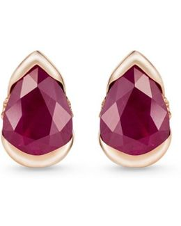 'bloom' Diamond Ruby 18k Rose Gold Small Stud Earrings