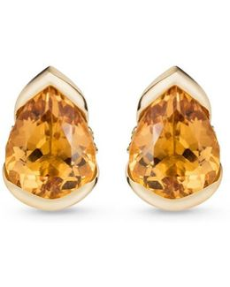 'bloom' Diamond Topaz 18k Gold Large Stud Earrings