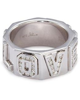'i Love You' Diamond Silver Ring