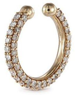 'pave Orbital Hoop' Diamond 14k Yellow Gold Single Ear Cuff