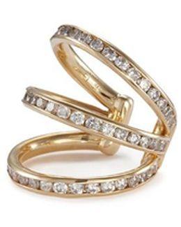 'trilogy' Diamond 14k Yellow Gold Single Ear Cuff