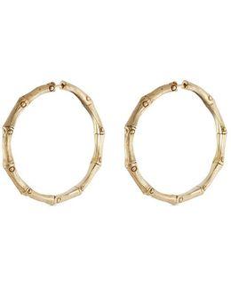 Brushed 18k Yellow Gold Medium Bamboo Hoop Earrings