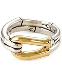 18k Yellow Gold Silver Bamboo Hook Ring