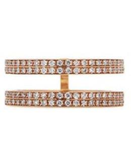 'berbère' Diamond 18k Rose Gold Double Row Phalanx Ring