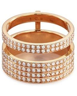 'berbère Module' Diamond 18k Rose Gold Two Row Ring
