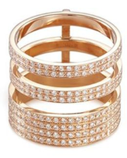 'berbère Module' Diamond 18k Rose Gold Three Row Ring