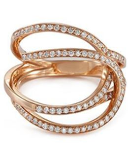 'la Ligne C' Diamond 18k Rose Gold Double Hoop Ring