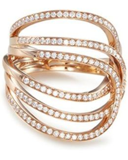 'la Ligne C' Diamond 18k Rose Gold Ring