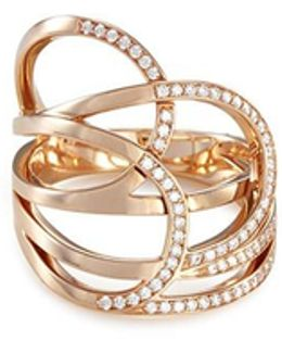 'la Ligne C' Diamond 18k Rose Gold Ring