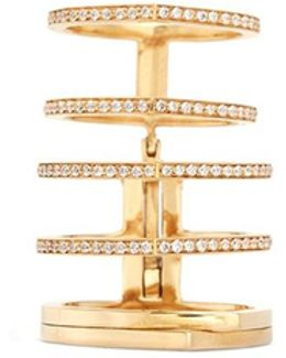 'antifer' Diamond Pavé 18k Yellow Gold Six Row Linked Ring