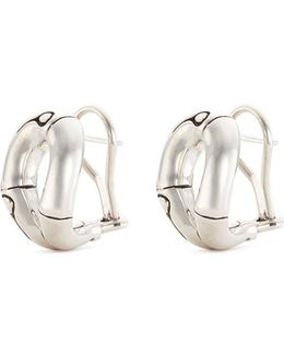 Silver Bamboo Loop Stud Earrings