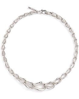 Silver Bamboo Loop Necklace