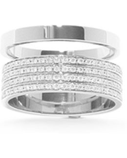 'berbère' Diamond Pavé 18k White Gold Two Row Ring