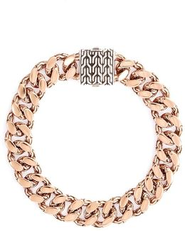Silver Bronze Curb Chain Bracelet