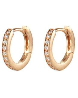 'micro Créole' Diamond 18k Rose Gold Single Hoop Earring