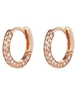'micro Créole' Diamond Pavé 18k Rose Gold Single Hoop Earring