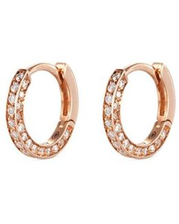 'micro Créole' Diamond Pavé 18k Rose Gold Single Hoop Earring
