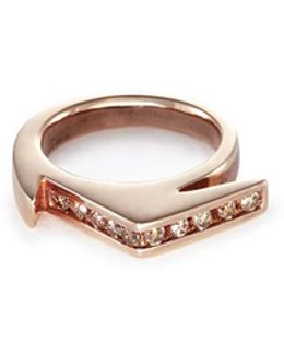 'stackable Jagged Knuckle A' Diamond Rose Gold Silver Ring