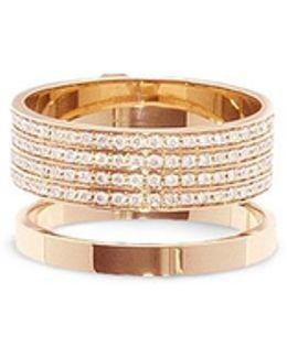 'berbère' Diamond Pavé 18k Rose Gold Two Row Ring