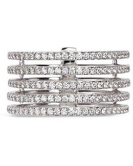 'gatsby 5 Rows' Diamond 18k White Gold Ring