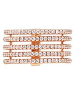 'gatsby 5 Rows' Diamond 18k Rose Gold Ring