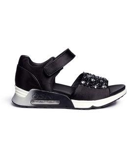 Lotus' Embellished Satin Sneaker Sandals